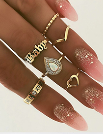 Fashion Golden Alloy Resin Letter Ring Set