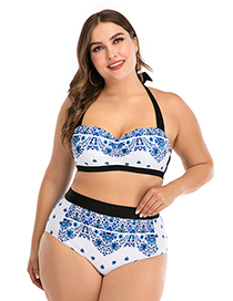 Fashion Blue Underwire Flower Print Stitching Contrast High Waist Large Size Split Swimsuit