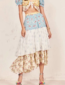 Fashion Color Matching Contrast Panel Print Skirt