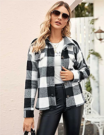 Fashion Black Plaid Plaid Woolen Lapel Loose Coat