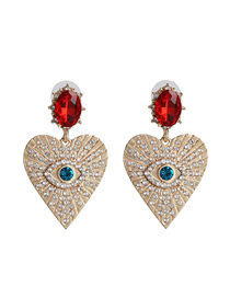 Fashion Golden Love Heart Diamond Earrings