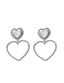 Fashion Silver Love Gold-plated Cutout Earrings
