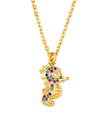 Fashion Golden Diamond Hippocampus Necklace