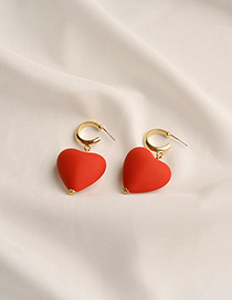 Fashion Red Love C-shaped Earrings