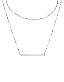 Fashion Steel Color Double-layer Curved Double-layer Necklace