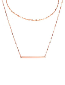 Fashion Rose Gold Double-layer Curved Double-layer Necklace