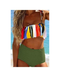 Fashion Green Striped Printed Flash High-waist Split Swimsuit
