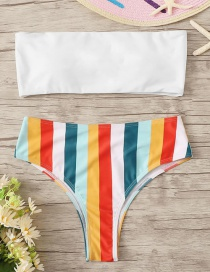 Fashion White Striped Printed Contrast Tube Top Split Swimsuit