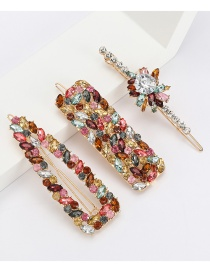 Fashion Color Alloy Diamond Floral Geometric Hollow Hair Clip Set