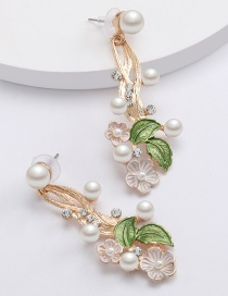 Fashion White Alloy Diamond And Pearl Flower Earrings