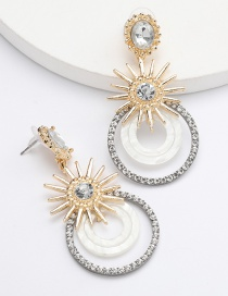 Fashion White Sunflower Multilayer Acetate Earrings With Diamonds