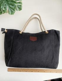 Fashion Dark Black Canvas Large Capacity Shoulder Bag
