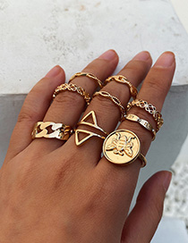Fashion Golden Bee Letter Openwork Geometric Ring Set