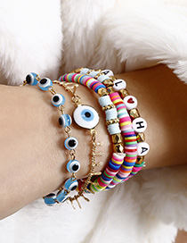 Fashion Color Soft Earthenware Beaded Alphabet Eye Bracelet