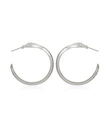 Fashion White K C-shaped Striped Snake Geometric Earrings