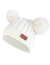 Fashion Color Ball-white Thick Double Wool Ball With Standard Children's Wool Hat