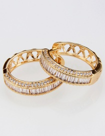 Fashion Gold-plated Copper Plated Round Hollow Earrings With Diamonds