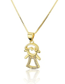 Fashion Gold-plated Cutout Girl Necklace With Diamond Dress