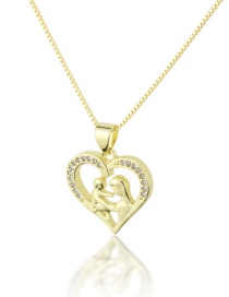 Fashion Gold-plated Heart-cutting Mother And Child Necklace With Diamonds