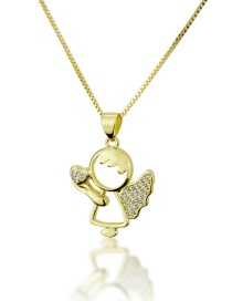 Fashion Gold-plated Little Angel Holding Diamond Love Necklace