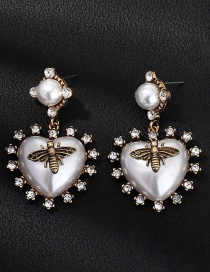 Fashion White Acrylic Diamond Bee Earrings
