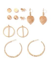 Fashion Golden Leaf Bow Geometric C-shaped Earring Set