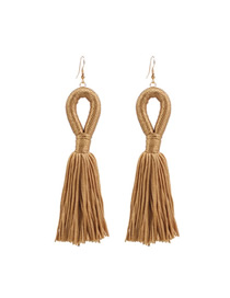 Fashion Ginger Braided Rope Tassel Cutout Earrings