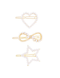 Fashion Gold Color Heart-shaped Three-piece Suit Pearl Love Bow Geometric Hair Clip Set