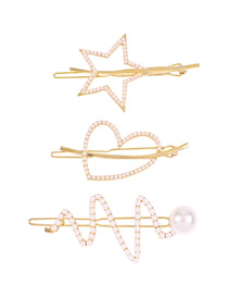 Fashion Gold Color Irregular Three-piece Suit Pearl Love Pentagram Hollow Hair Clip Set