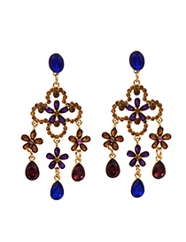 Fashion Color Alloy Tassel Earrings With Diamonds
