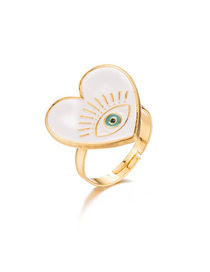 Fashion White Dripping Eye Love Open Ring