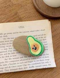 Fashion Khaki Embroidered Avocado Contrast Geometric Hair Clip