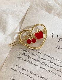 Fashion Red Dripping Metal Apple Cherry Love Hollow Hair Clip
