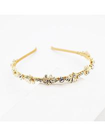 Fashion Gold Section Hand-woven Metal Leaf Diamond Headband