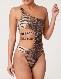 Fashion Tiger Pattern Tiger Print One-shoulder Metal Buckle One Piece Swimsuit