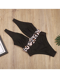 Fashion Black Deep V With One Piece Swimsuit