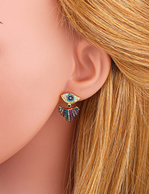 Fashion Color Tassel Alloy Earrings With Diamonds