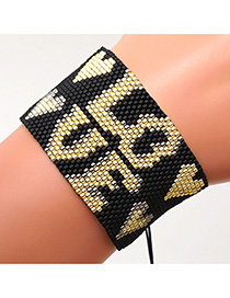 Fashion Black Mizhu Hand Woven Warp Love Letter Bracelet