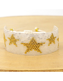 Fashion White Rice Beads Hand-woven Five-pointed Star Bracelet