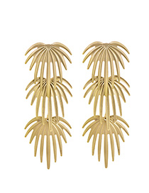 Fashion Sub-gold Alloy Coconut Leaf Ear Studs