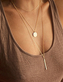 Fashion Golden Rectangular Stainless Steel Geometric Round Stacked Gold-plated Necklace