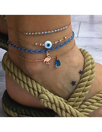 Fashion Blue Flamingo Diamond Eyes Weave Anklet Suits