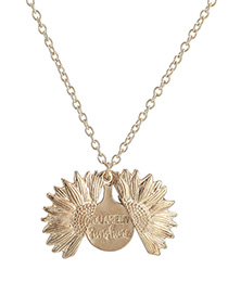 Fashion Golden Sunflower Double Openable Necklace Lettering