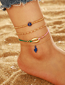 Fashion Golden Cactus Alloy Shell Bead Anklet Suits