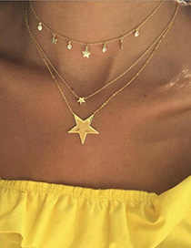 Fashion Golden Pointed Star Alloy Tassel Multilayer Necklace