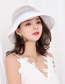 Fashion Pink Contrast Hat With Flower Bow And Pearl Mesh