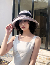 Fashion Gray Contrasting Color Fisherman Hat With Big Eaves Bow