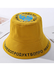 Fashion Yellow Letter Print Foldable Male Fisherman Hat
