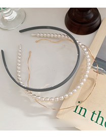 Fashion Gray Pearl Wave Metal Toothed Hair Hoop Combination