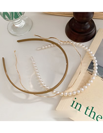 Fashion Khaki Pearl Wave Metal Toothed Hair Hoop Combination